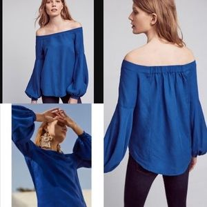 Anthro Floreat Blue Mazza Off Shoulder Top